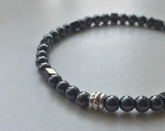 Mens beaded bracelet, hematite bracelet