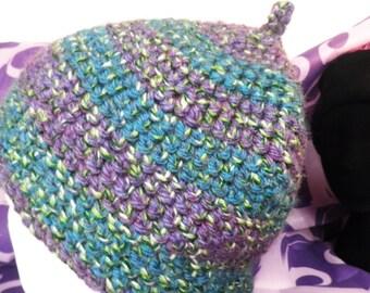 Purple & Teal Stripe Hand Crochet Pixie Hat  Size M - L