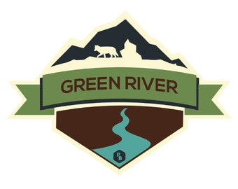 Green River PaddleBadge, Paddle Badge Decal, Kayak Art, Canoe Decal, Adventure Stickers, Kayak Decal