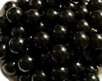 Black Solid Beads 20mm 10 count