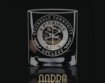 SALE: Greendale Community College Seal Etched Rocks Glass