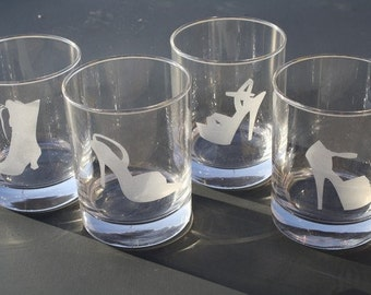 Set of 4 Shoes Rocks Glasses