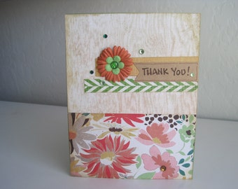 Thank You Card, Handmade Thank You Card, Floral Thank You Card, Feminine Thank You Card, Eclectic Design