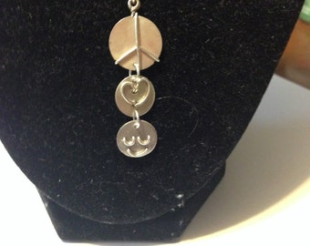 Peace, love ,and smiles sterling silver pendant on 18 inch sterling silver necklace