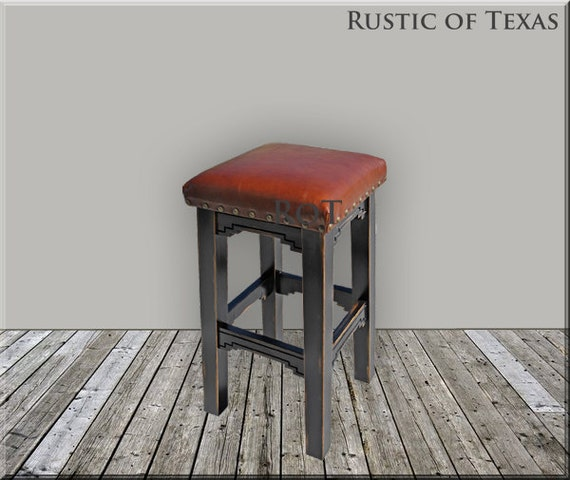 Tigua Southwestern Bar Stool With Studded Leather By