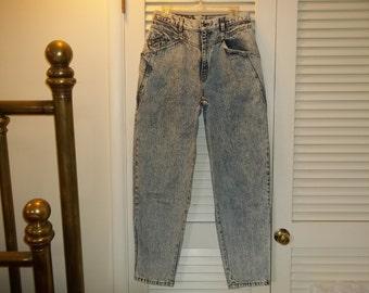 """Vintage 80s HighWaist Blue Acid Washed Levis 900 Series Jeans Rocker Slim Tapered Ankle Size Large Little Over 29"""" Waist"""
