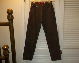 "Vintage 80s-90s HighWaist Levis Silvertab Jeans Loose Fit Brown Denim USA Made 28"" Waist,Tag Size 7"