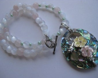 Abalone Shell Pendant/Rose Quartz Necklace
