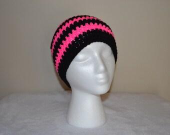 Woman's Black and Neon Pink Stripe Crochet Beanie