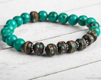Power Bracelet - Turquoise Bead Bracelet, Healing Bracelet, Wrist Mala Bracelet, Bracelet for Men, Men Bead Bracelet