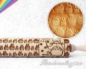 Totoro pattern engraved rolling pin,embossed rolling pin,embossing rolling pin for cookies,laser engraved