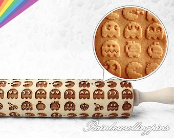 Video game pattern,Engraved rolling pin,rolling pins,rolling pin,cookies,cookie,cookie cutter,Pixels,