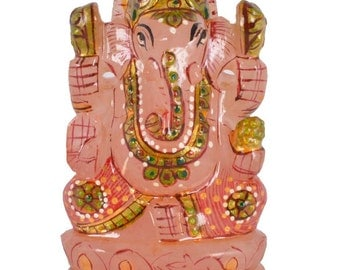 Religious Ganesha Rose Quartz Painted Idol for Pooja