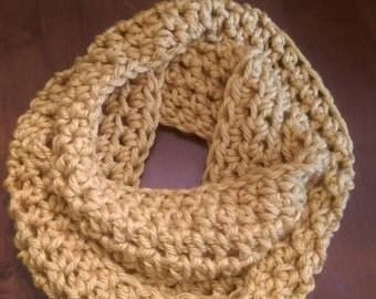 Golden Infinity Scarf Wrap Cowl Hand Made