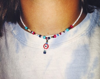 Rainbow (or b&w) Evil Eye Necklace
