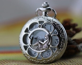 Andersen Fairy Tales jewelry mermaid pocket watch necklace Christmas gifts W37