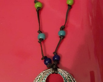 Handmade, adjustable GLASS BEADS and pendant necklace