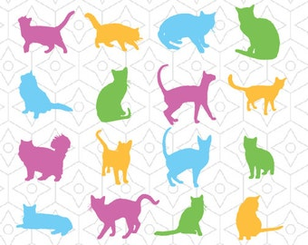 Cat Silhouettes Decals, SVG, DXF and AI Vector Files for use with Cricut and Silhouette Vinyl Cutting Machines