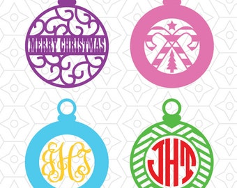 Christmas Ornament Monogram Frames, DXF, SVG and AI Vector Files for use with Cricut and Silhouette Vinyl Cutting Machines
