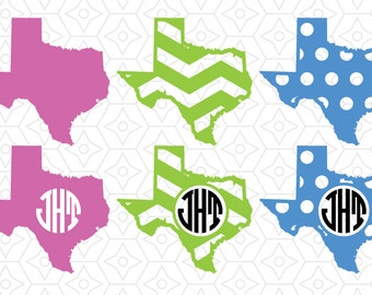 State of Texas Monogram Frame Decal, SVG, DXF and AI Vector files for use with Cricut and Silhouette Vinyl Cutting Machines