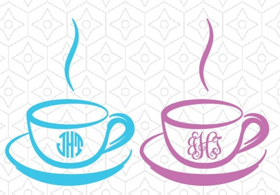 Download Coffee Cup Monogram Frame Decal SVG DXF and AI Vector Files