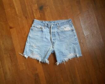 vintage levi 501 XX button fly red tab silver tab indigo denim blue jean shorts faded cut offs W 32