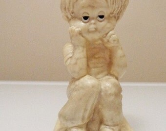 Sillisculpts Love Sentiments ~ Male Statue-Figurine ~ Loneliness Is Being Without You ~ Q R & W Berries Co ~ USA Made 1980s Kitsch Vintage