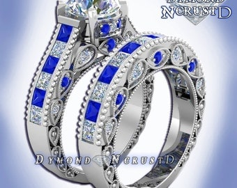 Doctor Who Inspired Tardis Blue Sapphire & Swarovski Diamond Sterling Silver or White Gold Deluxe Engagement Bridal Set