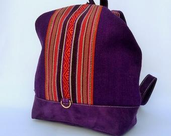 BACKPACK Peruvian Handwoven Wool Bag, Andean patterns, Peru bag, Hipster backpack, Ethnic rucksack, Boho backpack, Tribal bag, Purple