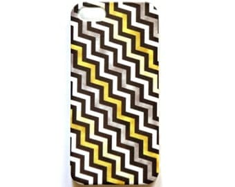 Angled Chevron iPhone 5 case in yellow and grey