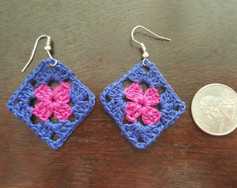 "Earrings-Handmade ""tiny"" Granny Square Earrings"