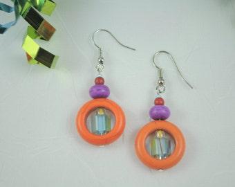Orange Donut Ring Earrings - 016