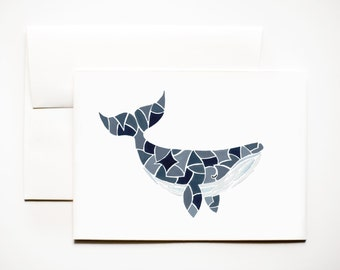 Greeting Card: Mosaic Whale Art Card A7 (5x7), Plain/Animal