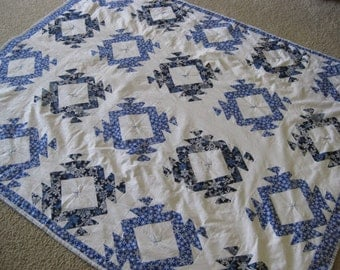 Blue and White Snow Quilt