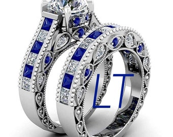 Doctor Who Inspired 6.25 CTS Tardis Blue Sapphire and Swarovski Diamond Deluxe Engagement Bridal Ring Set