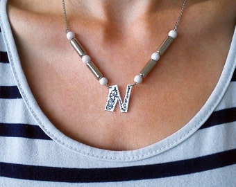 Personalized silver plated handmade necklace with plastic pendant and beads