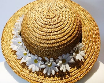 Vintage 70s 80s Headliner Natural Straw Hat with Daisy Flowers
