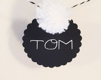 Garland with PomPoms for birthday or wedding in black white