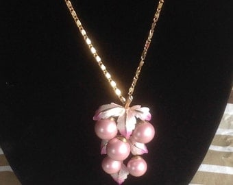 Beaded Lavender Grapes Pendant, 70's
