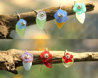 Glass flower and leaf drop earrings