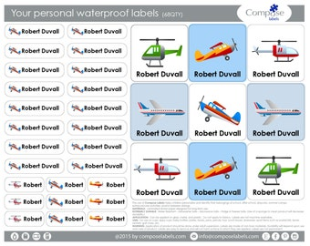 Airplane - Your personal waterproof labels (68 Qty) Free Shipping