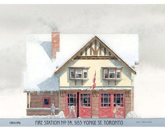 Fire House Greeting Card, Hall 34, Yonge Street, Toronto // Fire Hall, Toronto architecture, Fire Station, Tudor, Toronto Art Print, Winter.
