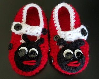 Ladybug shoes,ladybug shoes for babies,ladybug shoes for infants,crochet ladybug shoes,ladybug crochet,ladybug crochet shoes,ladybug infant