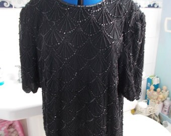 Stunning 1980s Quality Black Very Heavily Shell-Beaded Top with Shoulder-Pads