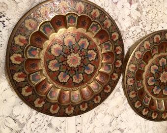 Antique brass decorative plates