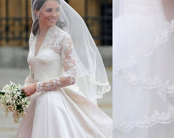 kate middleton veil, inspired, Princess kate veil,  Elbow length veil , 1.5M Veil, Wedding Veil, bridal Veil, Lace Veil,  LA15011