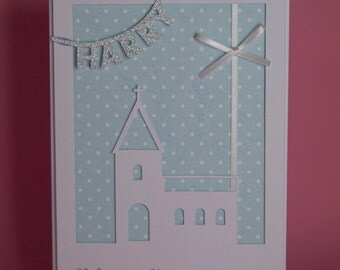 Personalised Christening Church card handmade available pink or blue background, naming ceremony card, baby christening card, church card