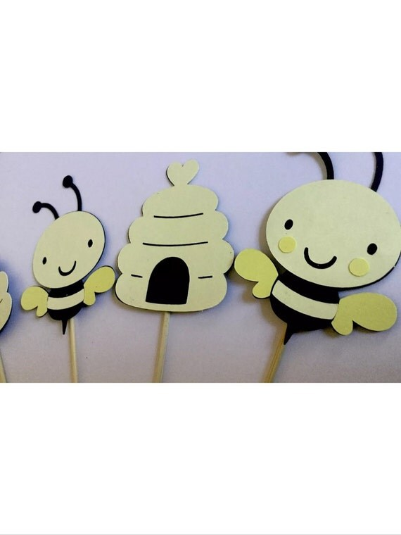 baby shower decoration baby bee what will it bee cupcake toppers