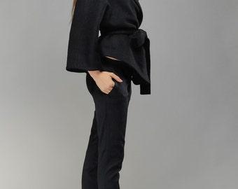 Wrap Coat, Kimono Style Cardigan, Cozy Coat, Oversized Coat, Classic Wrap Coat Cashmere Cardigan, Kimono Black Coat by OlenaMolchanova.