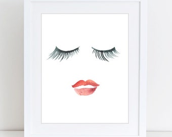 Lips eyelashes print, Beauty print, Printable Art, Fashion print, Red, Wall Decor, Poster, Digital poster print Instant Download 8x10, 16x20